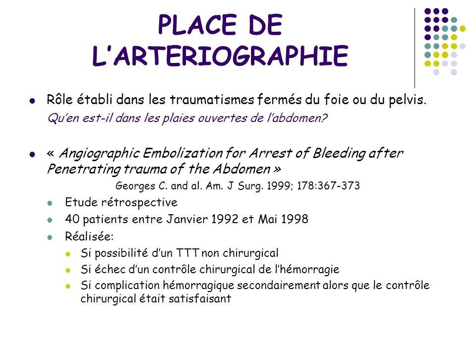 PLACE DE L'ARTERIOGRAPHIE