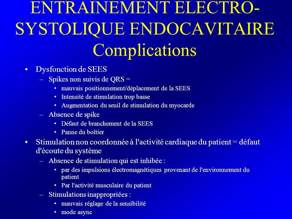 ENTRAÎNEMENT ÉLECTRO-SYSTOLIQUE ENDOCAVITAIRE Complications