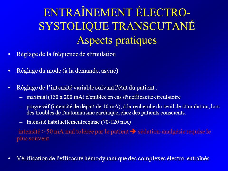ENTRAÎNEMENT ÉLECTRO-SYSTOLIQUE TRANSCUTANÉ Aspects pratiques