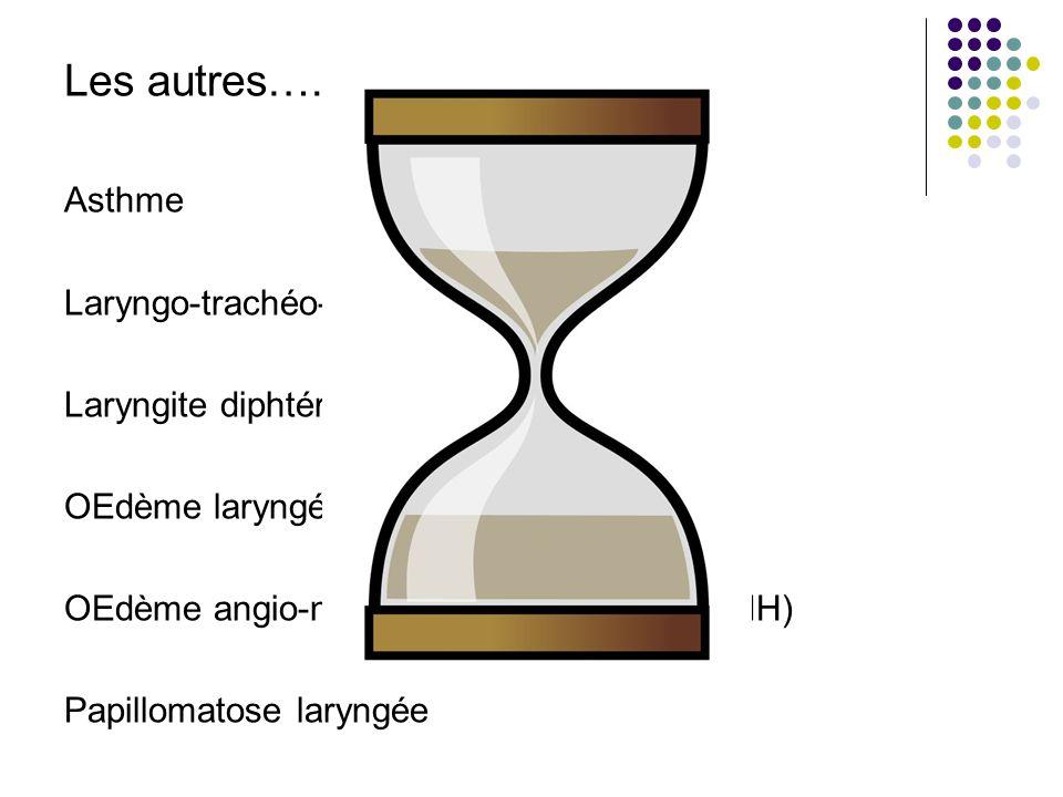 Les autres….. Asthme Laryngo-trachéo-bronchite bactérienne