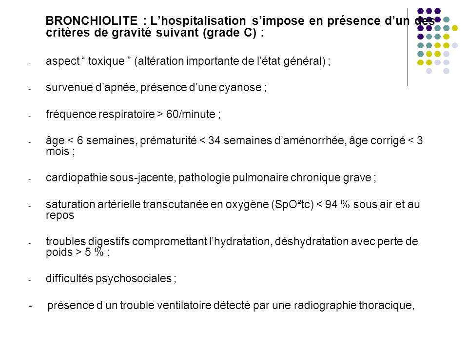 BRONCHIOLITE : L'hospitalisation s'impose en présence d'un des critères de gravité suivant (grade C) :