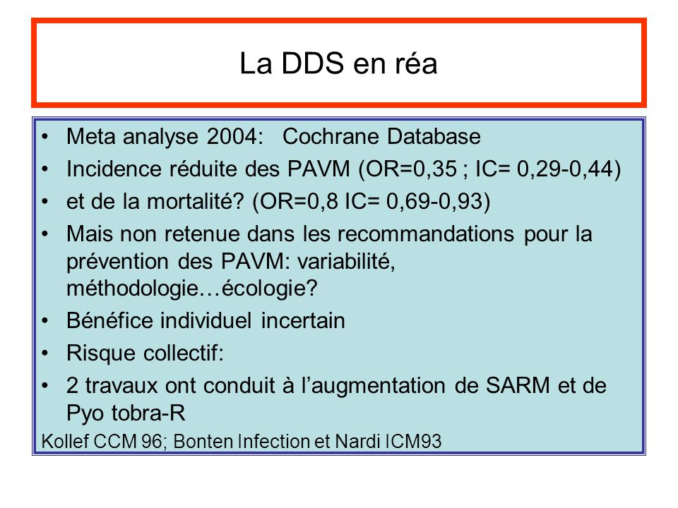 La DDS en réa Meta analyse 2004: Cochrane Database