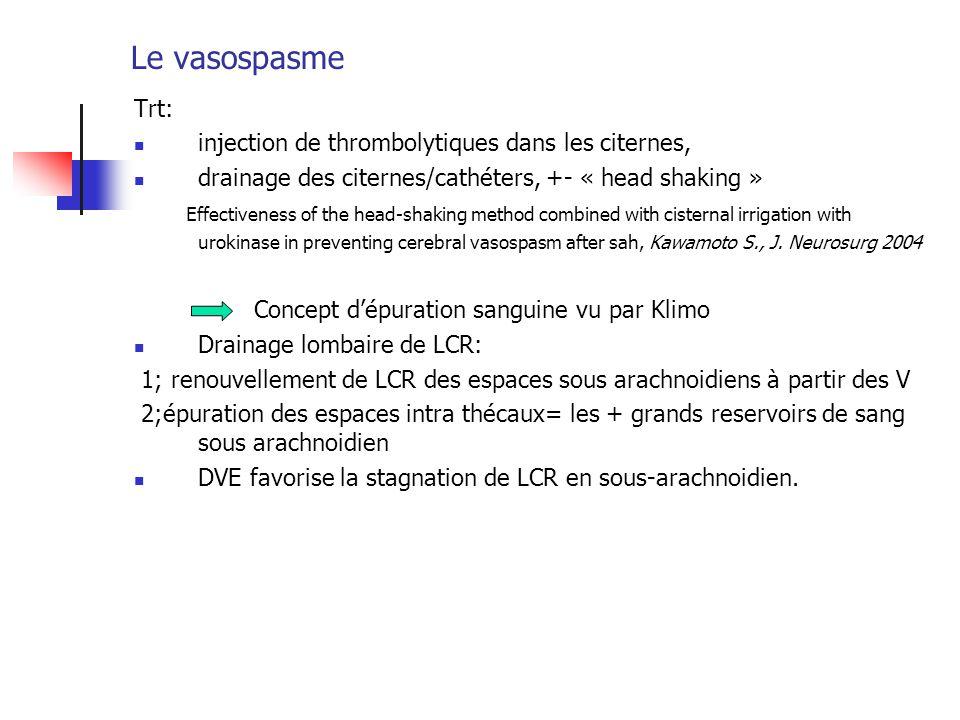 Le vasospasme Trt: injection de thrombolytiques dans les citernes,