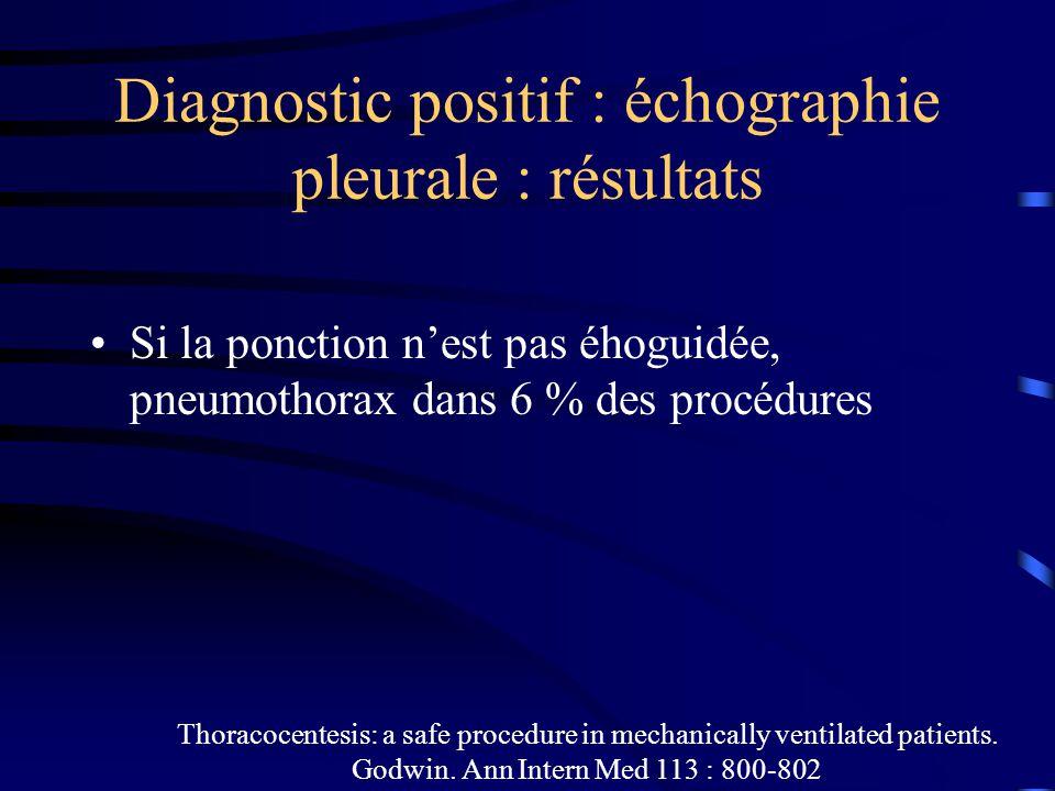 Diagnostic positif : échographie pleurale : résultats