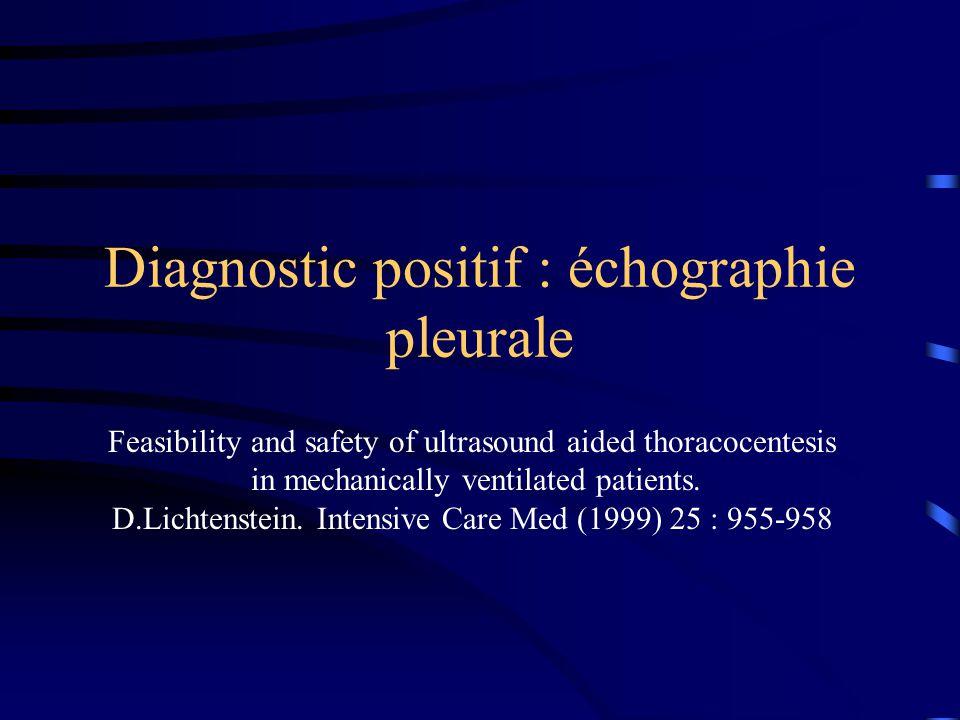 Diagnostic positif : échographie pleurale