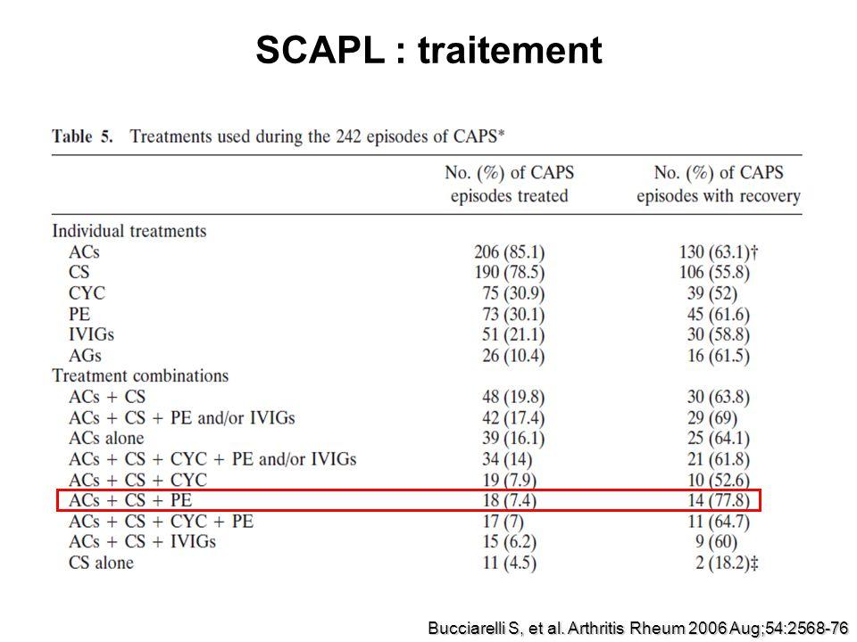 SCAPL : traitement Bucciarelli S, et al. Arthritis Rheum 2006 Aug;54:2568-76