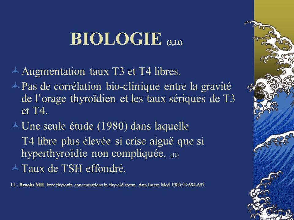 BIOLOGIE (3,11) Augmentation taux T3 et T4 libres.