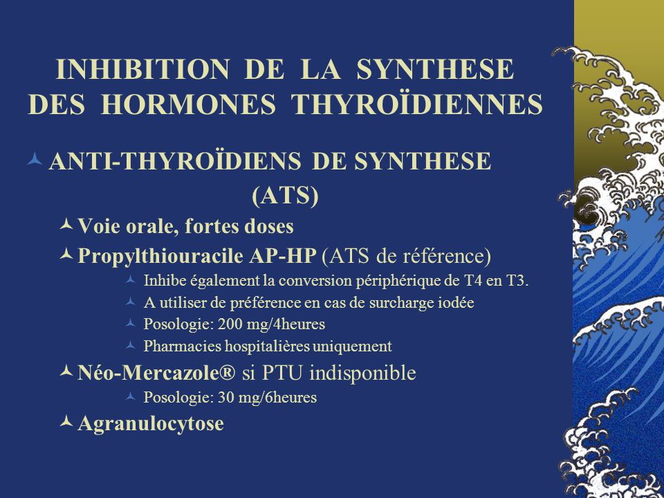 INHIBITION DE LA SYNTHESE DES HORMONES THYROÏDIENNES