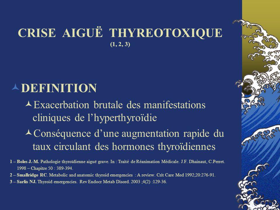 CRISE AIGUË THYREOTOXIQUE (1, 2, 3)