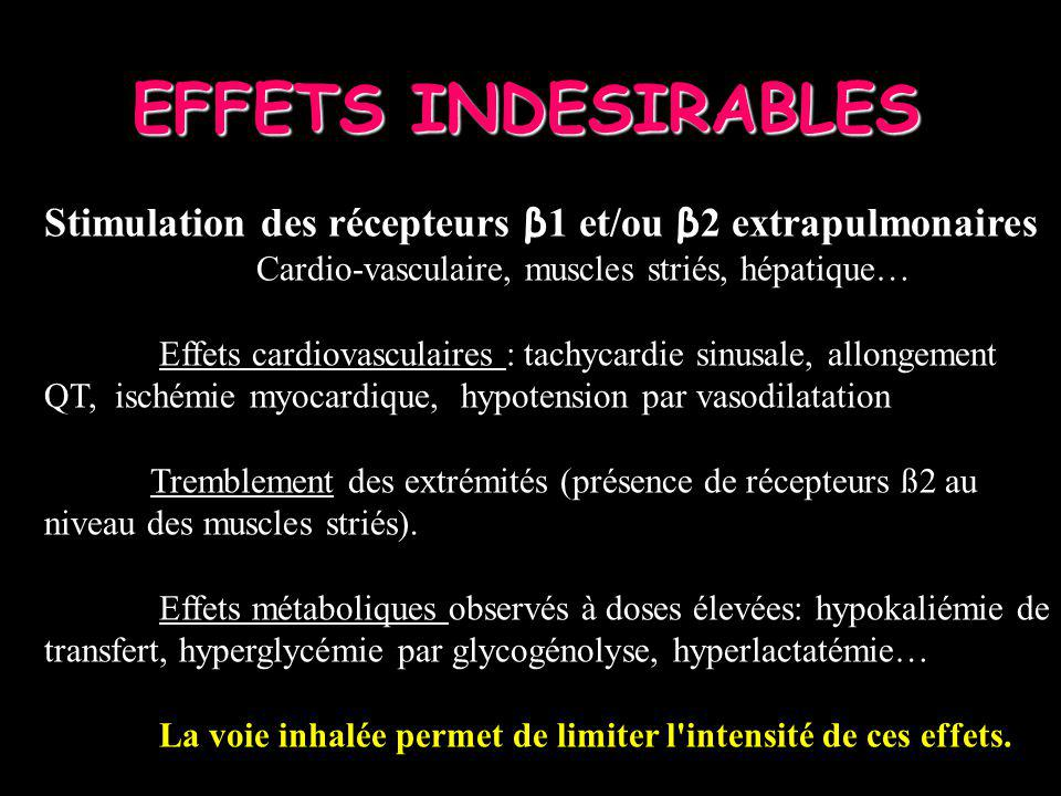 EFFETS INDESIRABLES Stimulation des récepteurs β1 et/ou β2 extrapulmonaires. Cardio-vasculaire, muscles striés, hépatique…