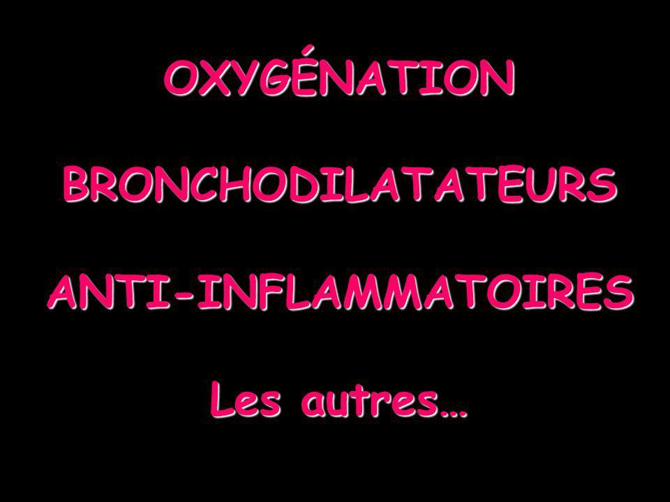 OXYGÉNATION BRONCHODILATATEURS ANTI-INFLAMMATOIRES Les autres…
