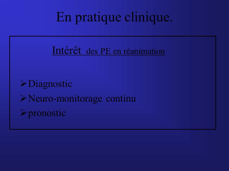 En pratique clinique. Intérêt des PE en réanimation Diagnostic