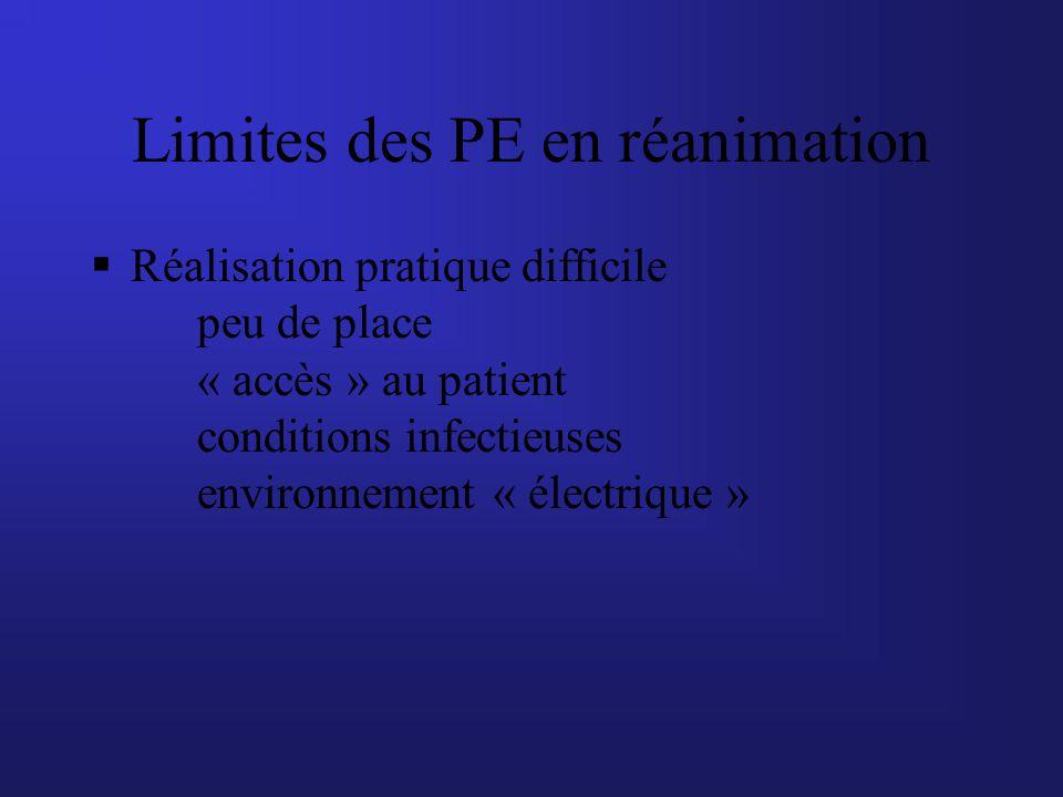 Limites des PE en réanimation