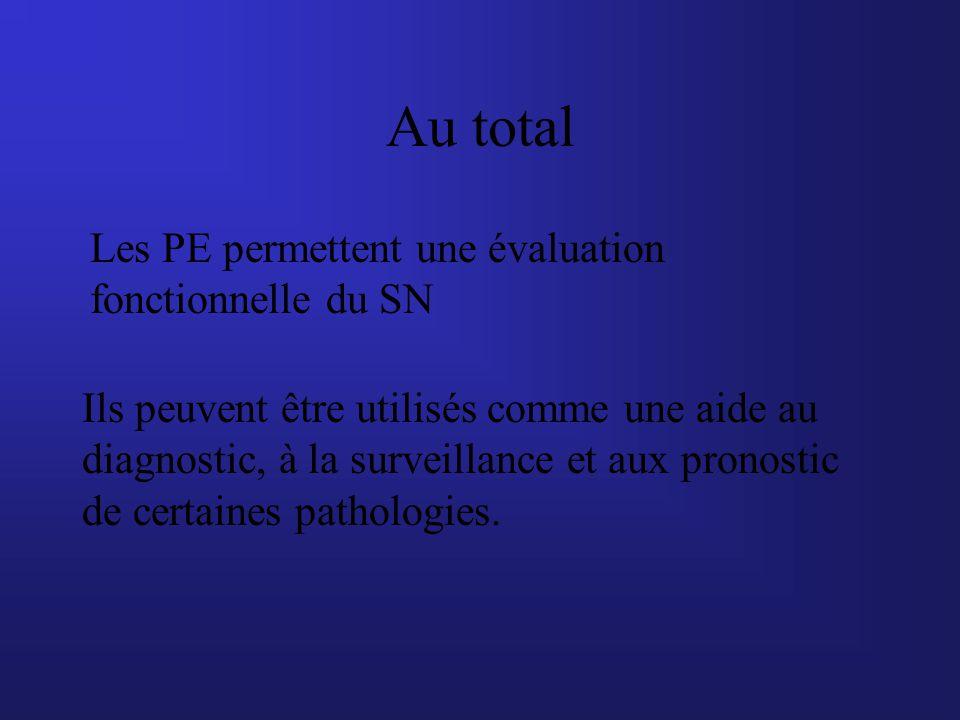 Au total Les PE permettent une évaluation fonctionnelle du SN
