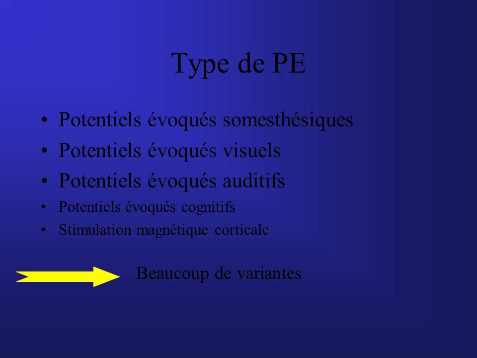 Type de PE Potentiels évoqués somesthésiques