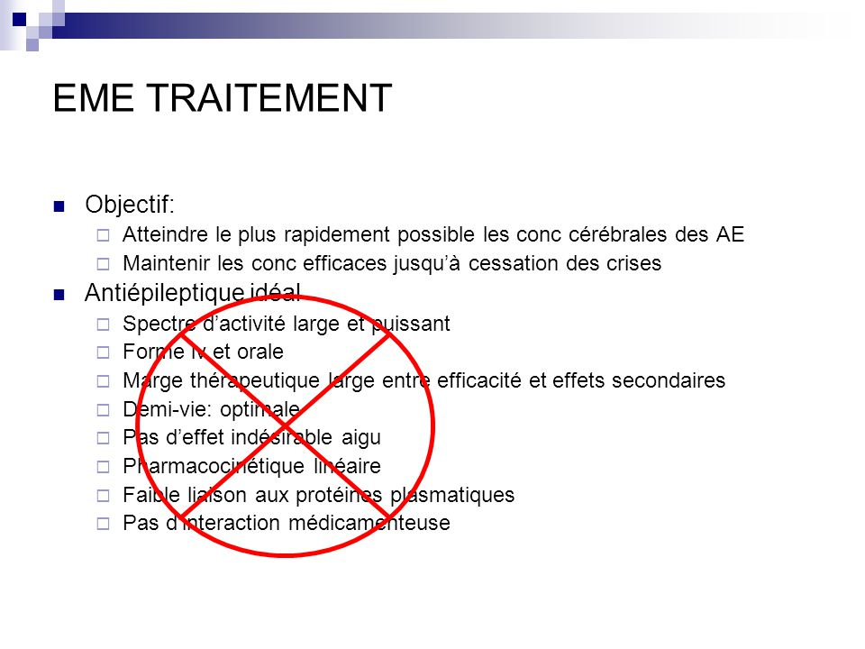 EME TRAITEMENT Objectif: Antiépileptique idéal