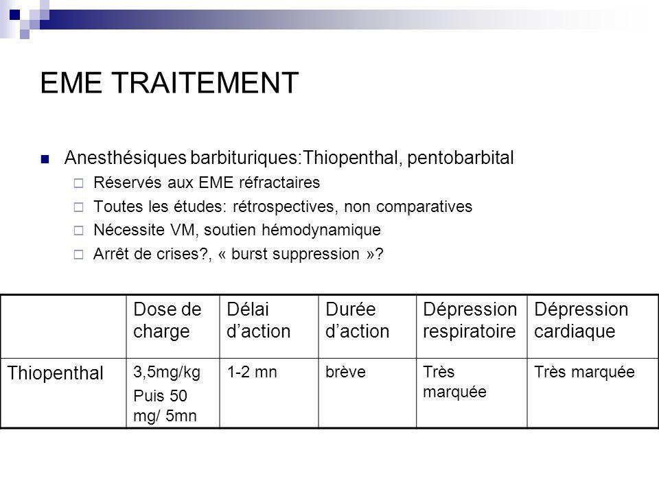 EME TRAITEMENT Anesthésiques barbituriques:Thiopenthal, pentobarbital