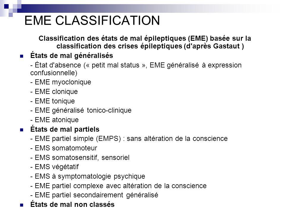EME CLASSIFICATION Classification des états de mal épileptiques (EME) basée sur la classification des crises épileptiques (d après Gastaut )