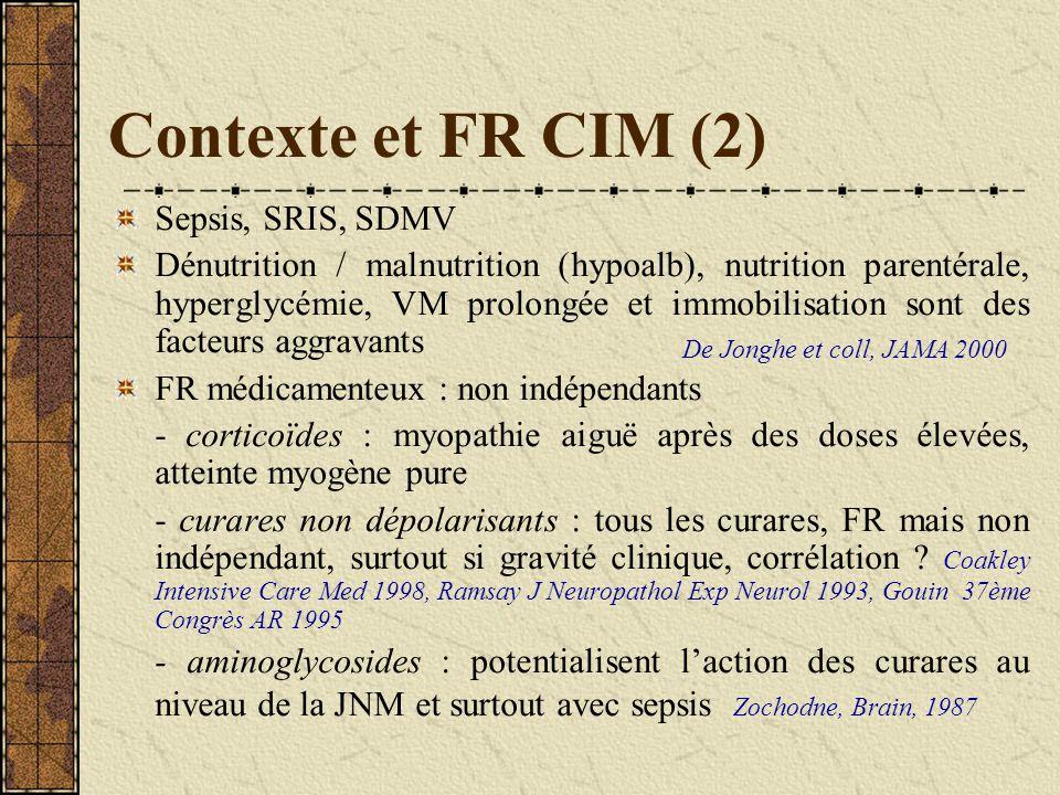 Contexte et FR CIM (2) Sepsis, SRIS, SDMV