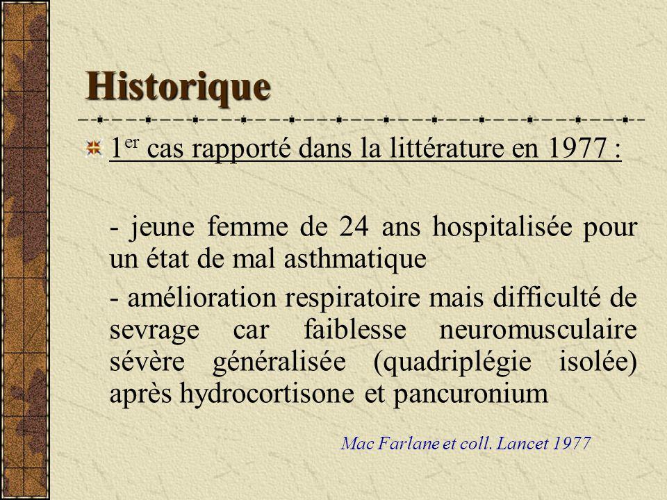 Historique 1er cas rapporté dans la littérature en 1977 :