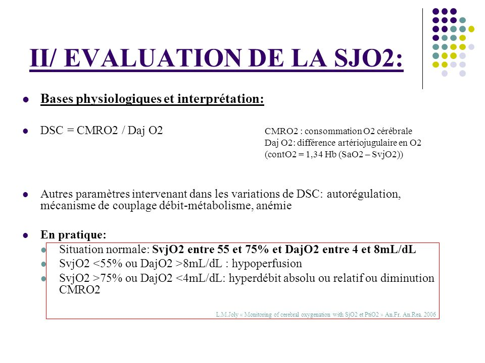 II/ EVALUATION DE LA SJO2: