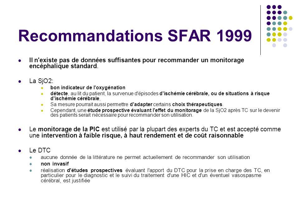 Recommandations SFAR 1999 Il n existe pas de données suffisantes pour recommander un monitorage encéphalique standard.