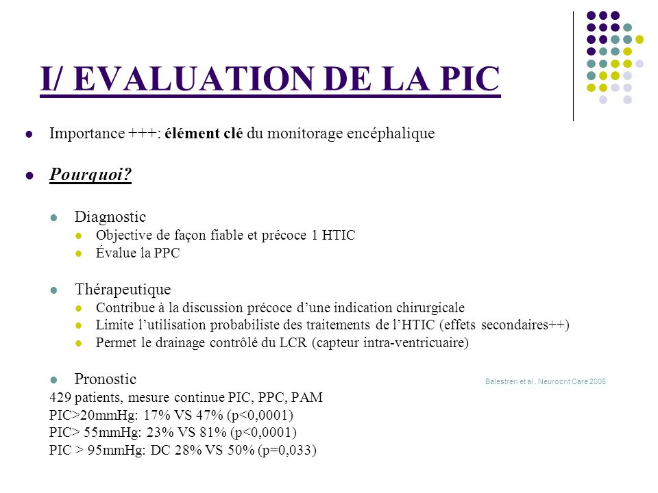 I/ EVALUATION DE LA PIC Pourquoi
