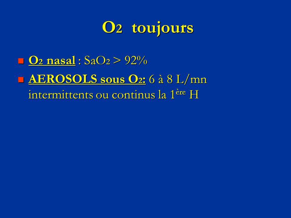 O2 toujours O2 nasal : SaO2 > 92%