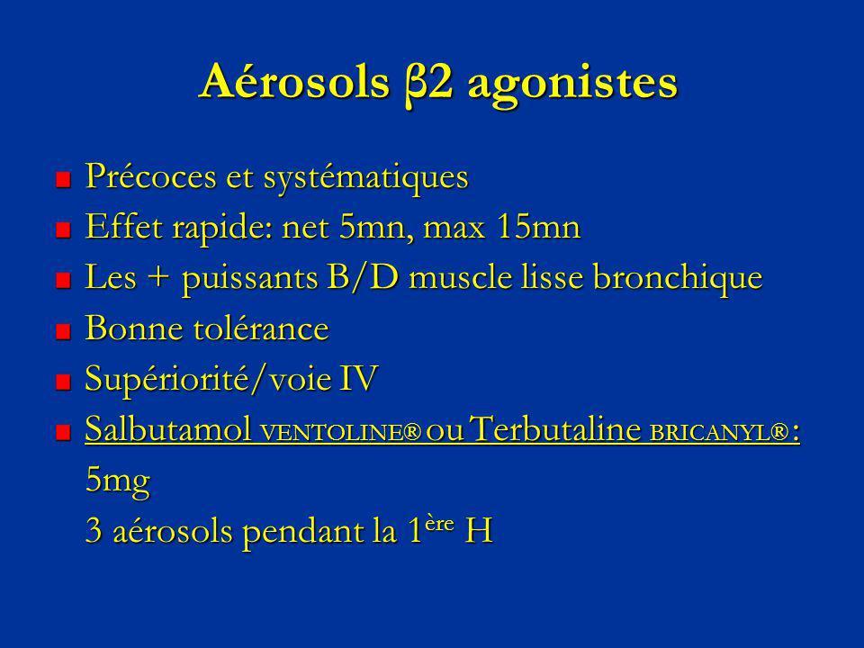 Aérosols β2 agonistes Précoces et systématiques