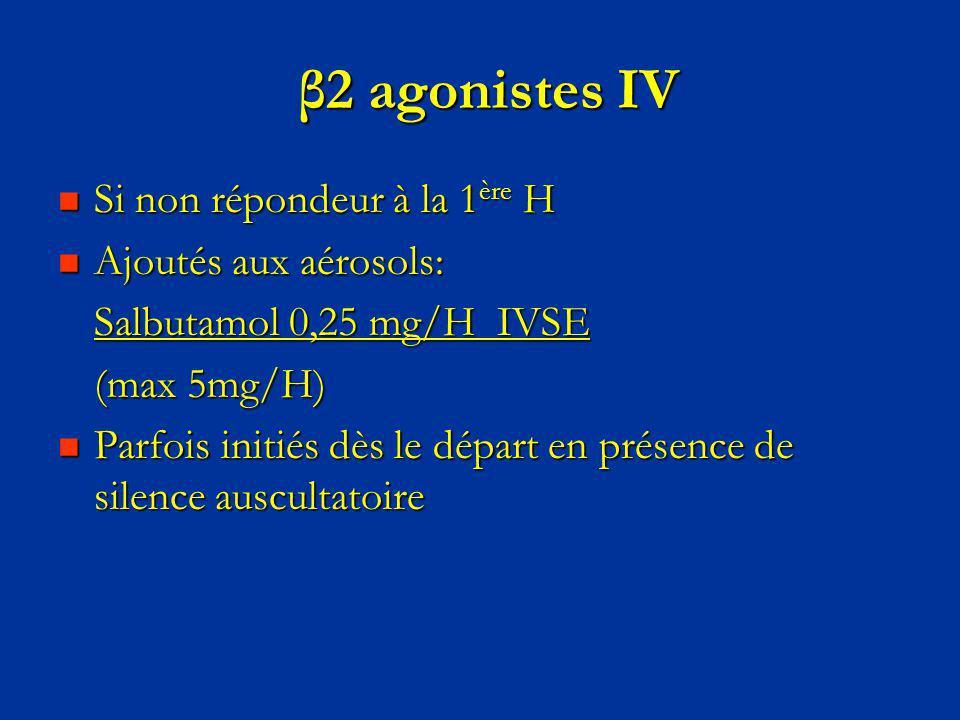 β2 agonistes IV Si non répondeur à la 1ère H Ajoutés aux aérosols: