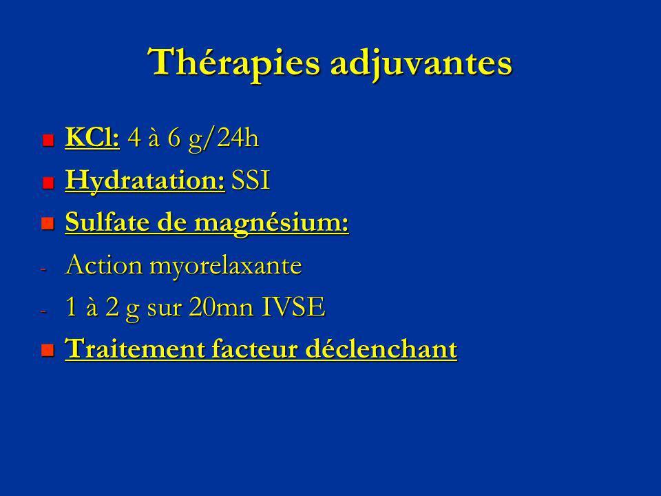 Thérapies adjuvantes KCl: 4 à 6 g/24h Hydratation: SSI