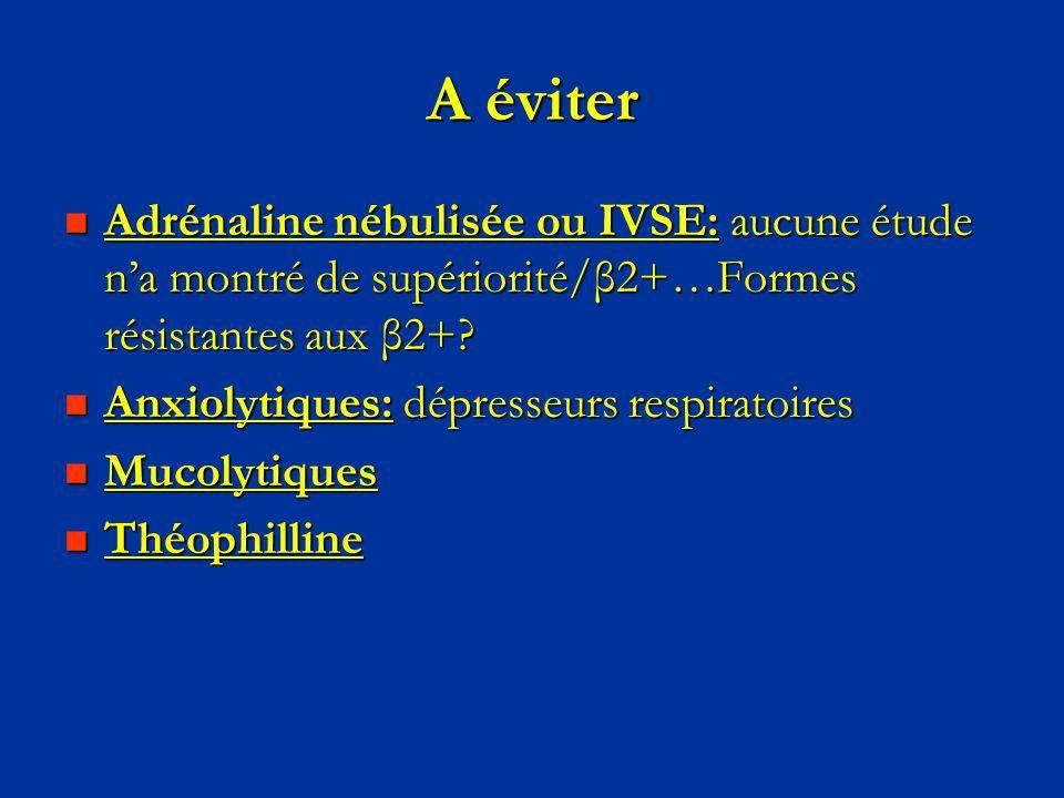 A éviter Adrénaline nébulisée ou IVSE: aucune étude n'a montré de supériorité/β2+…Formes résistantes aux β2+