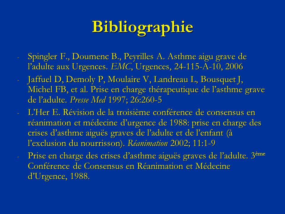 Bibliographie Spingler F., Doumenc B., Peyrilles A. Asthme aigu grave de l'adulte aux Urgences. EMC, Urgences, 24-115-A-10, 2006.