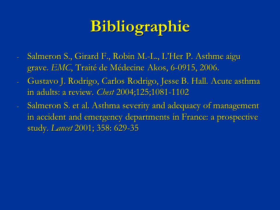 Bibliographie Salmeron S., Girard F., Robin M.-L., L'Her P. Asthme aigu grave. EMC, Traité de Médecine Akos, 6-0915, 2006.