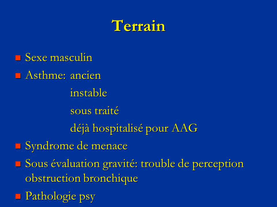 Terrain Sexe masculin Asthme: ancien instable sous traité