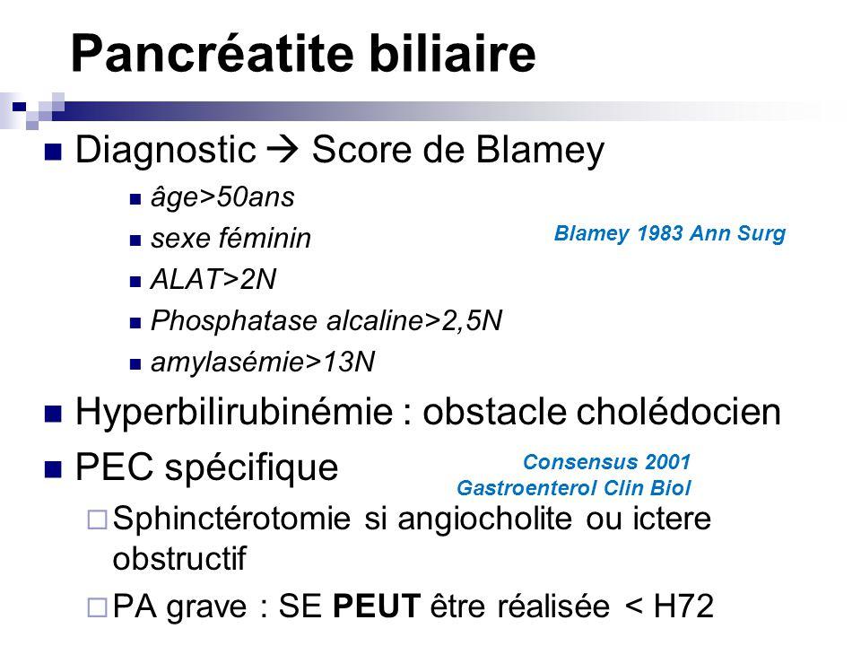 Pancréatite biliaire Diagnostic  Score de Blamey
