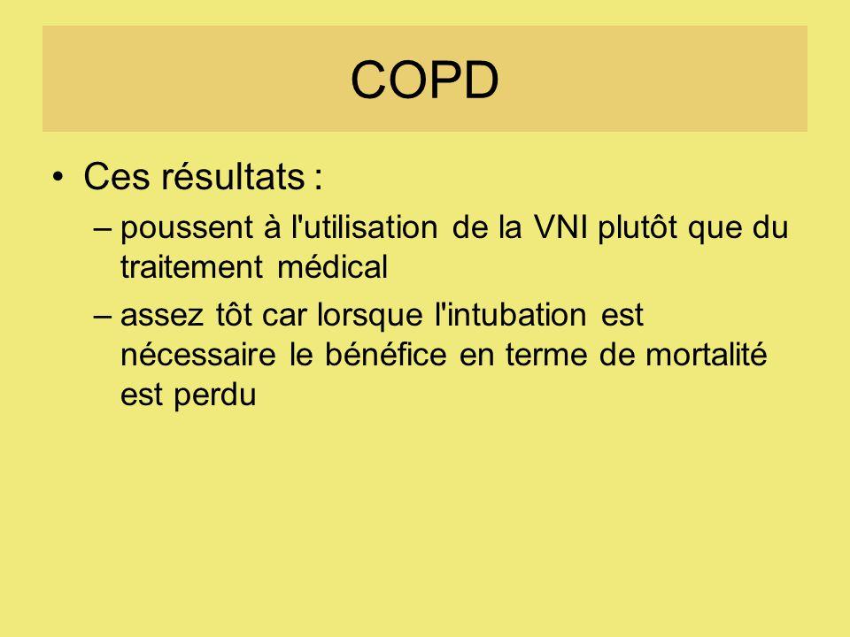 COPD Ces résultats : poussent à l utilisation de la VNI plutôt que du traitement médical.