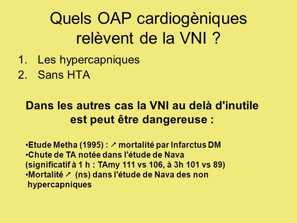 Quels OAP cardiogèniques relèvent de la VNI