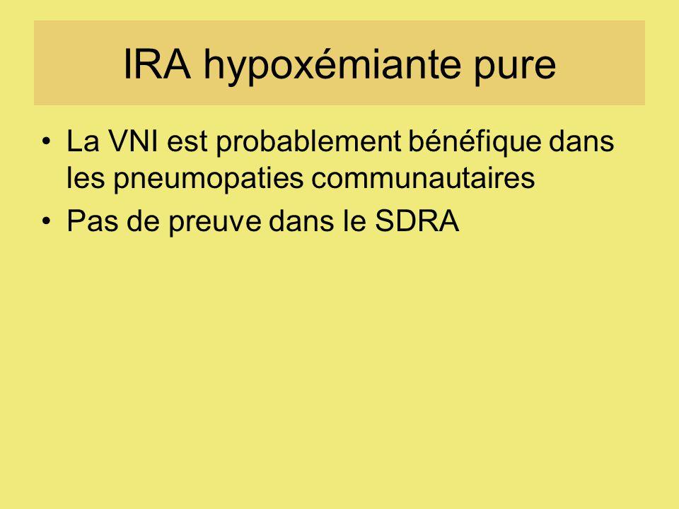 IRA hypoxémiante pure La VNI est probablement bénéfique dans les pneumopaties communautaires.