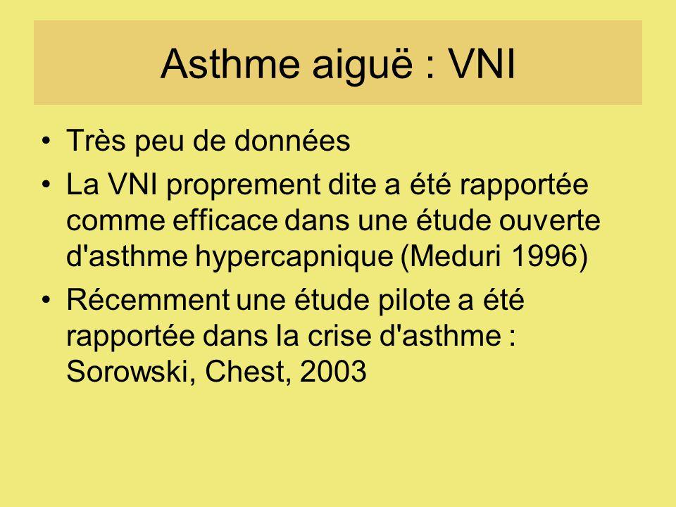 Asthme aiguë : VNI Très peu de données