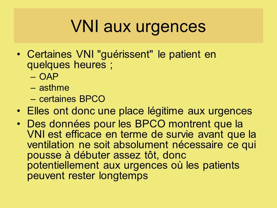 VNI aux urgences Certaines VNI guérissent le patient en quelques heures ; OAP. asthme. certaines BPCO.