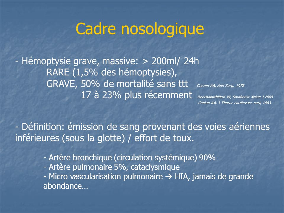 Cadre nosologique - Hémoptysie grave, massive: > 200ml/ 24h