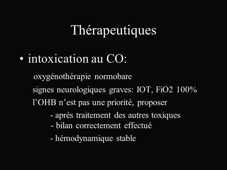 Thérapeutiques intoxication au CO: oxygénothérapie normobare