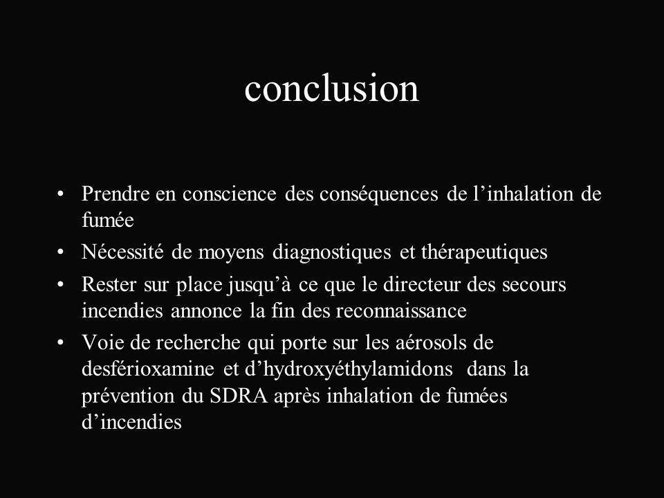conclusion Prendre en conscience des conséquences de l'inhalation de fumée. Nécessité de moyens diagnostiques et thérapeutiques.