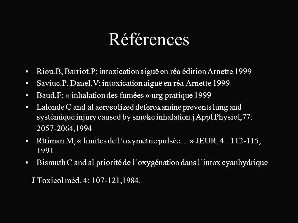 Références Riou.B, Barriot.P; intoxication aiguë en réa édition Arnette 1999. Saviuc.P, Danel.V; intoxication aiguë en réa Arnette 1999.