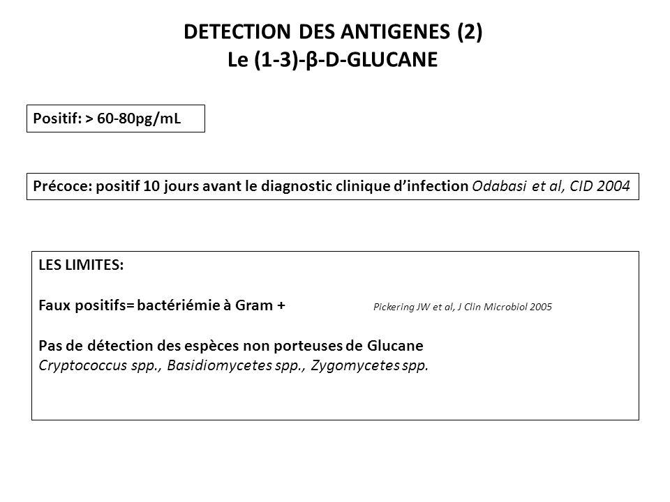 DETECTION DES ANTIGENES (2) Le (1-3)-β-D-GLUCANE