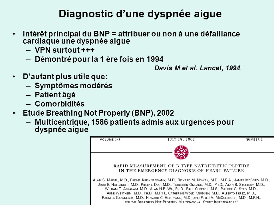 Diagnostic d'une dyspnée aigue