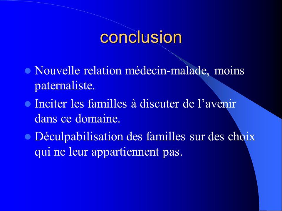 conclusion Nouvelle relation médecin-malade, moins paternaliste.