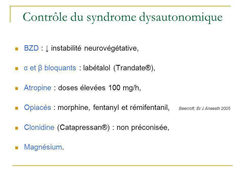 Contrôle du syndrome dysautonomique