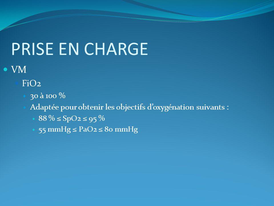 PRISE EN CHARGE VM FiO2 30 à 100 %